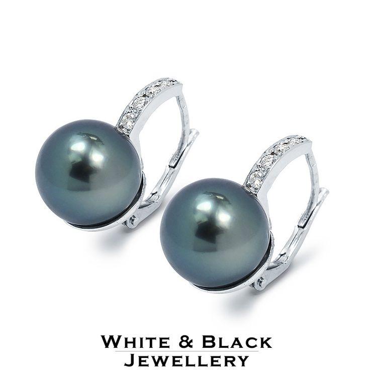 Tahitian pearl earings set with diamonds - Tahiti gyöngy fülbevaló gyémántokkal