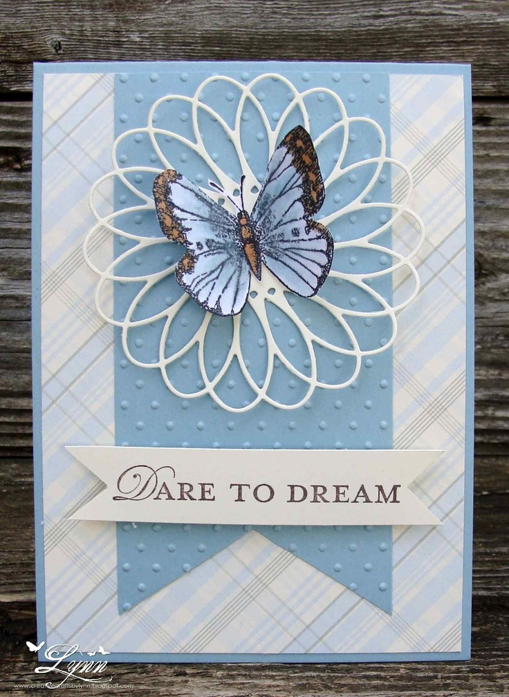 handmade card ... clean and simple card ... wide fishtail banner ... lluv the oopy circle die cut ... butterfly on top ... sweet!!