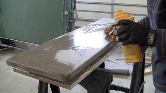 how to make a concrete table. apply-sealer-to-concrete-table