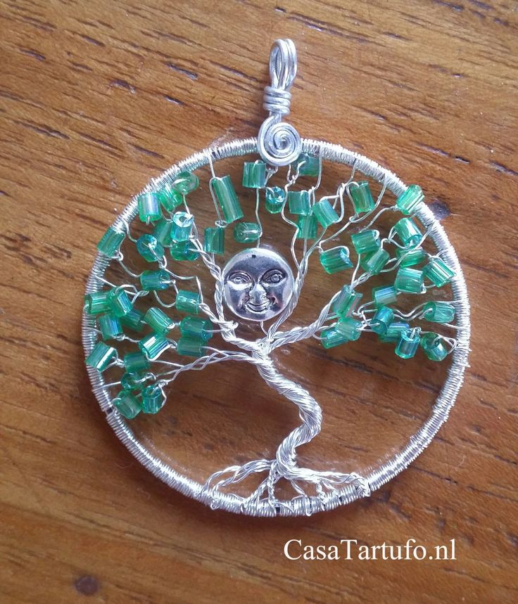 Wire Tree Pendant. 4.Silver wire with green rods and silver moon. (4 cm). Sold…