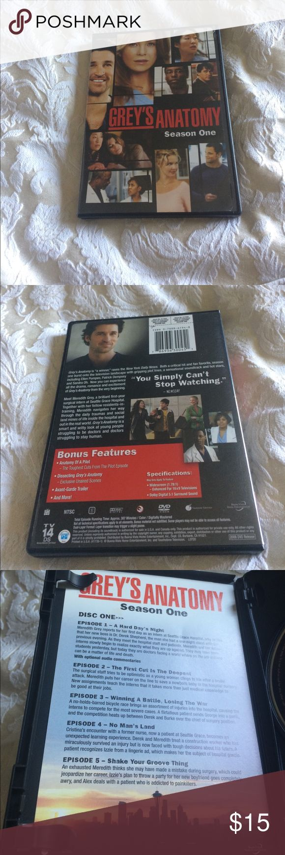 Grey's Anatomy season one 2 disc set with bonus features, like new! Other