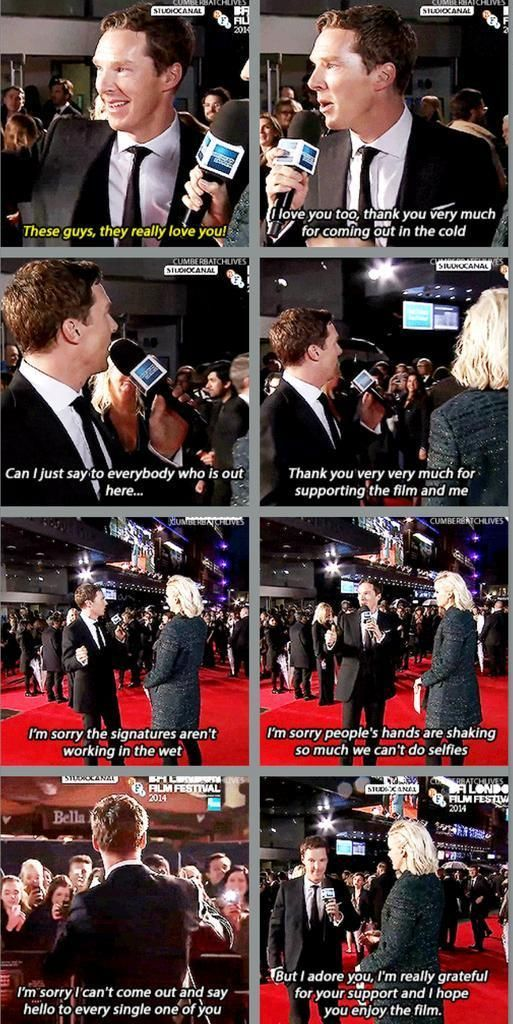 LONDON FILM FESTIVAL (October 8, 2014) ~ Benedict Cumberbatch thanks his fans during interview in the rain on the red carpet at the European premiere of THE IMITATION GAME.. I ADORE THIS MAN.