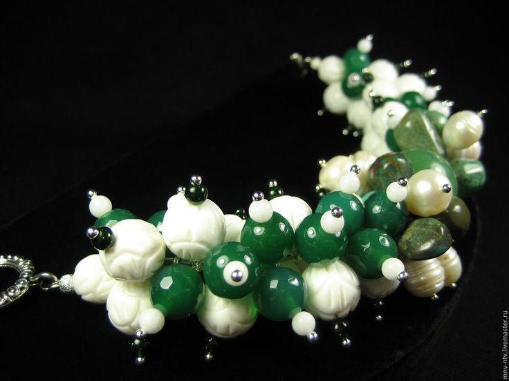 """Купить БРАСЛЕТ """"ПРУД С ЛИЛИЯМИ"""" - зеленый, браслет из камней, необычный браслет"""