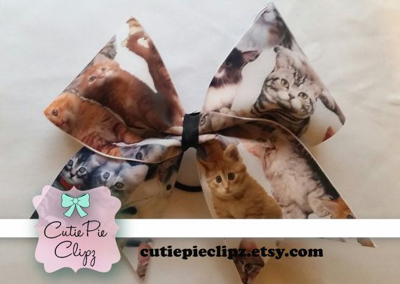 Cat and Kitten Printed Cheer Bow by CutiePieClipz on Etsy