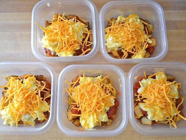 Breakfast Bowls (freezable) - minus the potatoes to make this dish low carb. Can add in sausage and/or bacon.