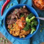 Korean Bulgogi and Rice Bowls with broccoli and kimchi | TheRoastedRoot.net #healthy #dinner #recipe