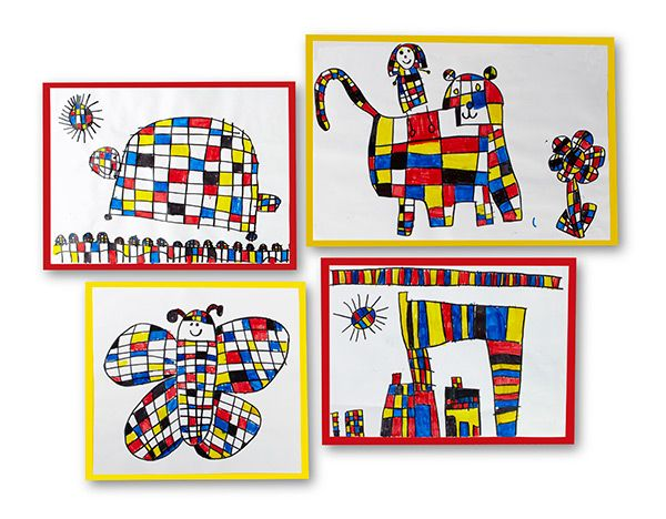 """Create a """"Mondrian-like"""" world by simply using squares, rectangles and primary colors!"""