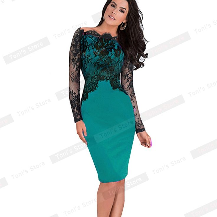 Sexy Slash Neck Lace Top Long Sleeve Zipper Club wear Casual Pencil dress Like and share if you think it`s fantastic! Get it here