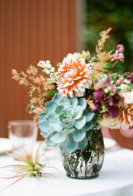 Love the vintage vase & succulent centerpieces wedding | Succulent and Dahlia Wedding Centerpiece : Wedding Flowers Gallery