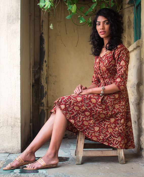 Floral Hand Block Printed Fit & Flare Dress