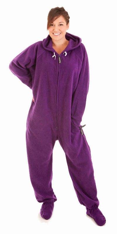 Purple Footie Pajamas, Onesie Footed PJs for Adults, One Piece Sleepwear