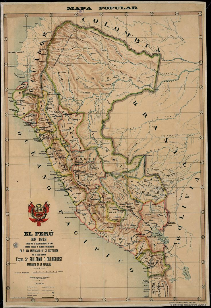 1913 map of Peru, including territorial claims.