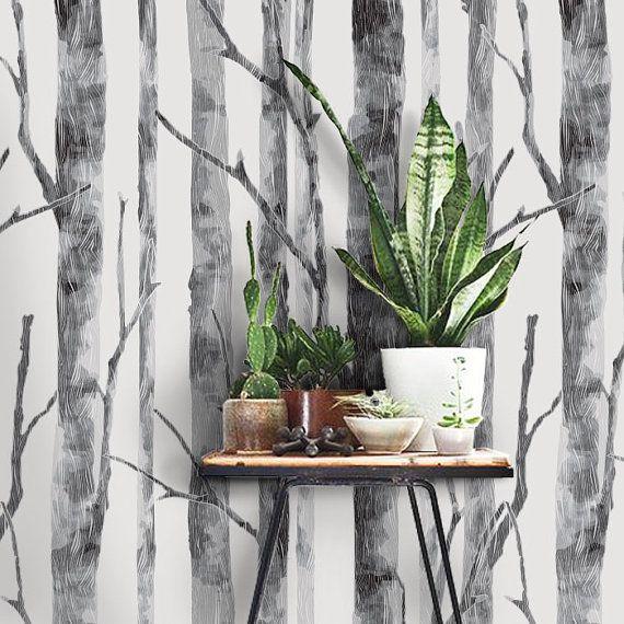 Moderno abedul árbol patrón pelar y pegar papel tapiz por WallPlays