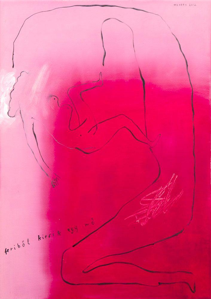 A woman falling down from Feri-Feriből leesik egy nő Acryl on canvas 50x70 cm