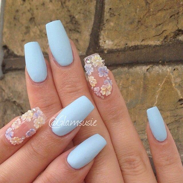 Matte sky blue with 3d floral coffin nails