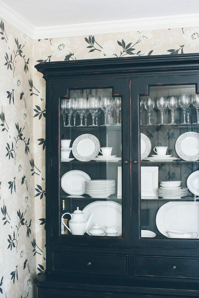 White dishes look so beautiful in this country cupboard