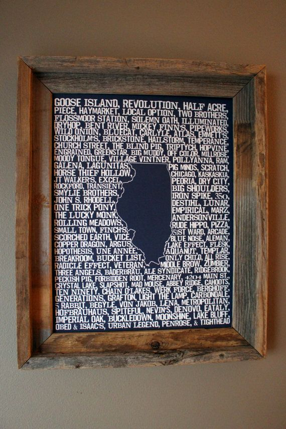 Beers of Illinois Word Map Dark Blue