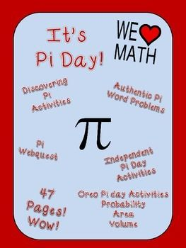 Pi Day is a wonderful opportunity to celebrate math!  This 47 page Pi Day Bundle offers 5 separate activities to mix and match to suit your students needs.  Choose from a Pi Day Webquest, Pi Day Probability, Funky Facts and History of Pi, Discovering Pi, Pi Word Problems with both area and volume, and independent Pi Day activities.