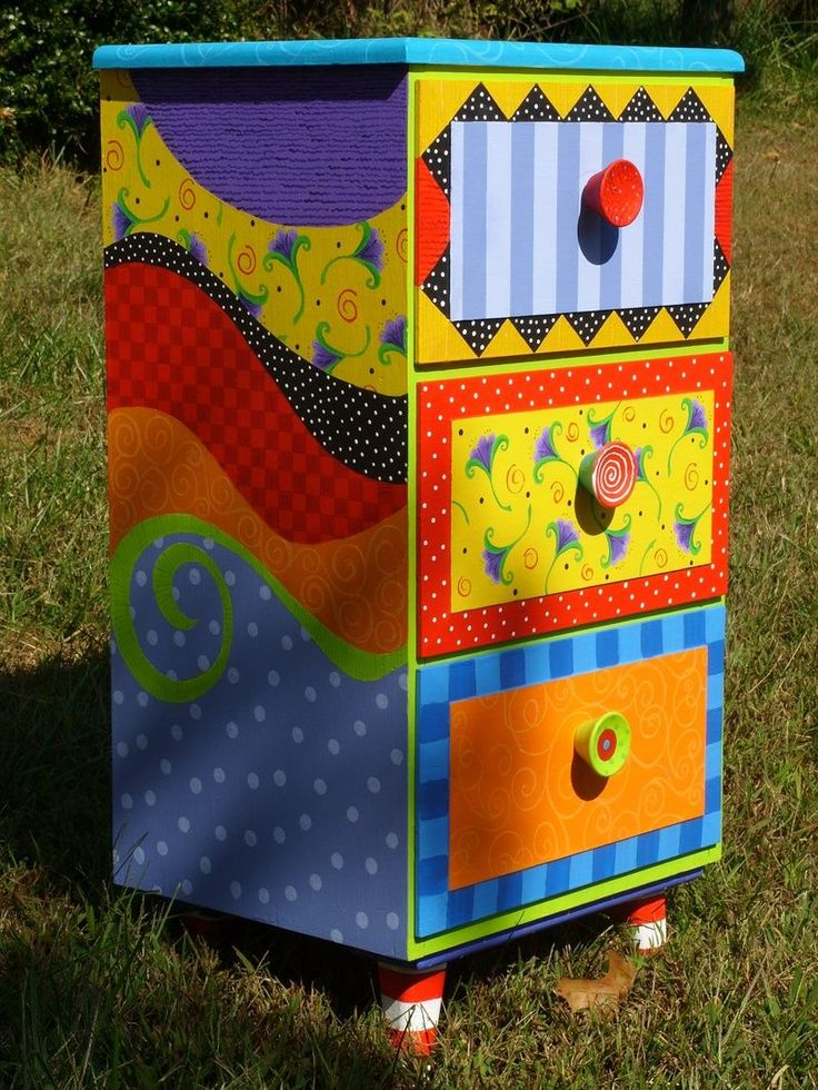 hand-painted nightstand or dresser