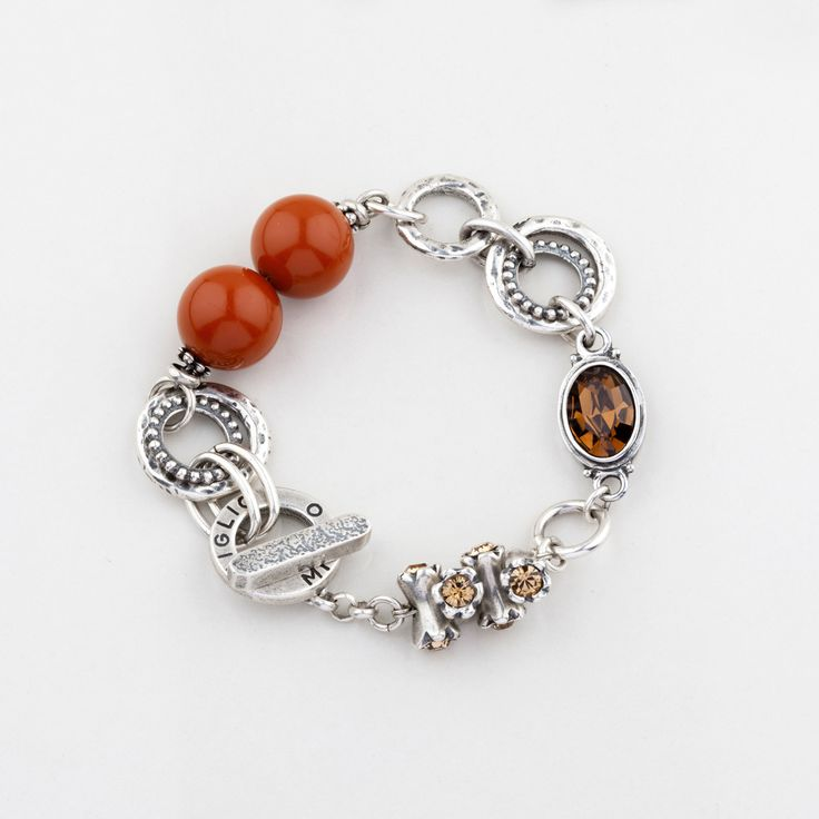 #miglio B1261 Amber resin bead, golden shadow and smoky topaz Swarovski crystal designer bracelet