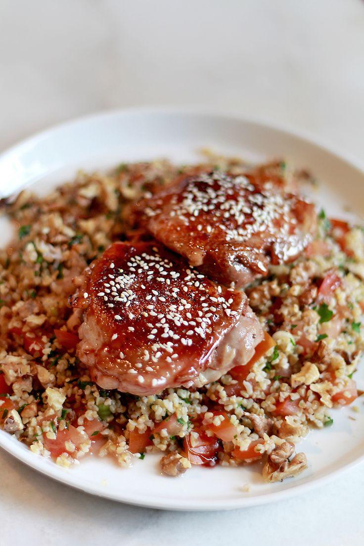 Culy Homemade: krokante kip met granaatappelsiroop en een bulghursalade