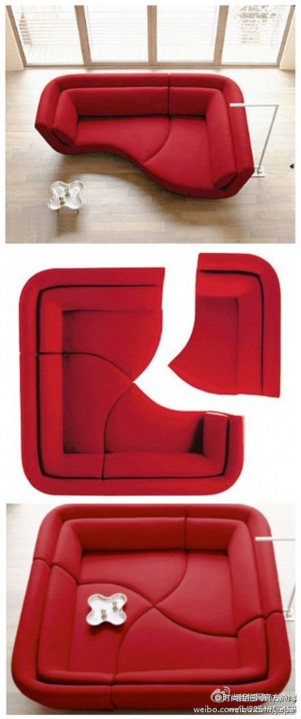 Ligne Roset offers a great modular sofa set called Yang. As you can see from the pictures, you can have a simple sofa setup like you would in a normal living room. You can also put the sofas together to form a sectional seating system that can accommodate your space in many different ways. Yang offers great flexibility in decorating the living room with many possibilities and shapes.
