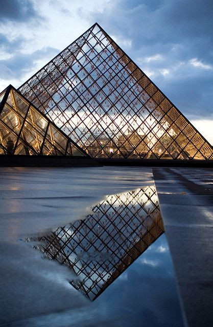 Simply beautiful reflection The Louvre Pyramid (Pyramide du Louvre) Paris, France -