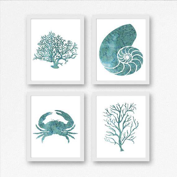 Set Of 4 Nautical Art Prints Watercolor Nautilus Shell Crab Etsy Coral Wall Art Beach Wall Decor Sea Theme Bathroom