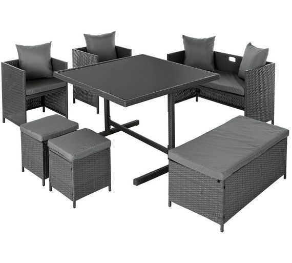 Buy Home 8 Seater Rattan Effect Cube Set With Storage Garden