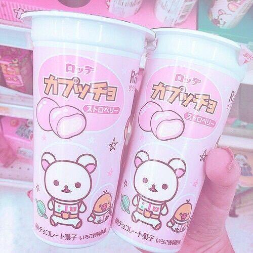 kawaii pink japan food aesthetic cute pastel peach japanese sweets rilakkuma colors imagem rosa drinks strawberry источник vk heart
