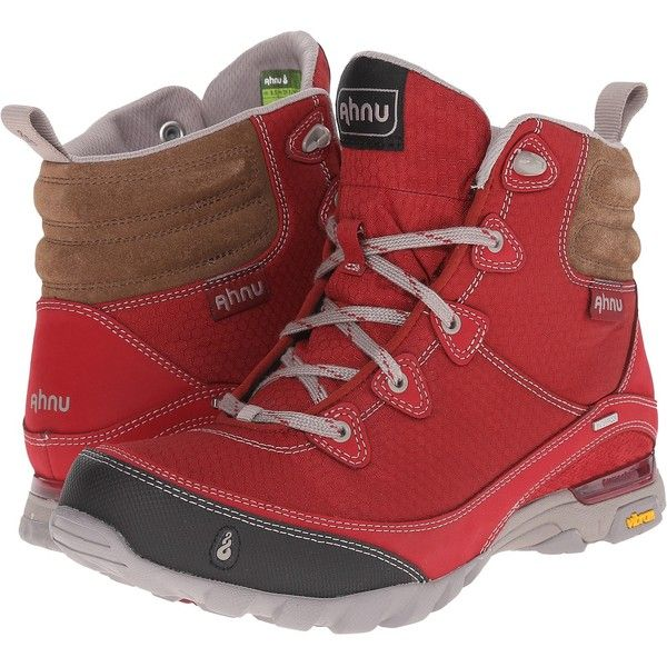 Ahnu Sugarpine Boot (Garnet Red) Women's Hiking Boots (6.845 RUB) ❤ liked on Polyvore featuring shoes, brown, waterproof shoes, red hiking boots, ahnu shoes, waterproof hiking boots and red shoes