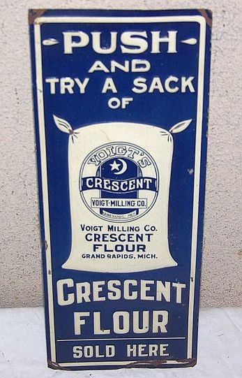 Crescent Flour Door Push Sign  (Vintage 1910 Voigt Milling Co. Embossed Metal Push Pull Plate, Grand Rapids, Michigan, Antique Sack Flour Baking Advertising Signs)