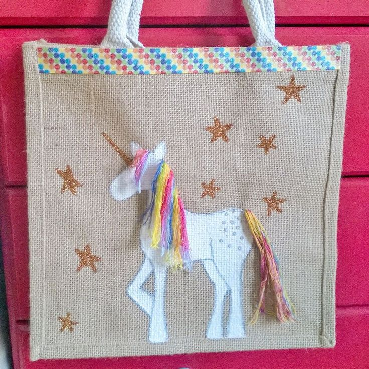 Unicorn jute handbag with rainbow hair via Liana Marcel. Click on the image to see more!