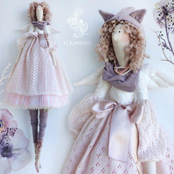 Interior muñeca Tilda Aline (65 cm de altura) Bufanda con capucha con orejas. Algodón orgánico, jersey, encaje, perlas.