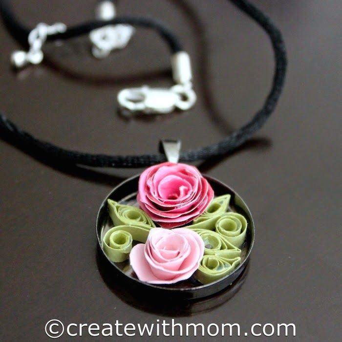 Quilled Jewelry Romantic Roses Necklace