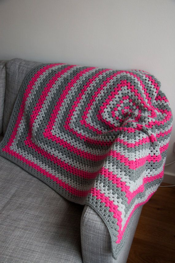 Granny square blanket pink and grey by PieceOfaCookie on Etsy