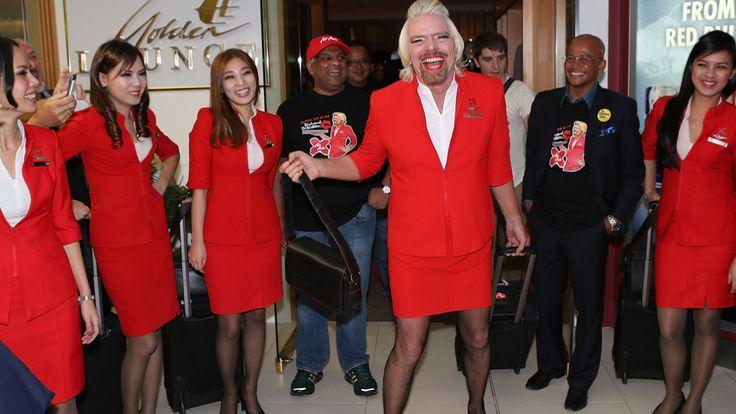 richard-branson-dressed-like-woman. | Stewardesses, Flight ...