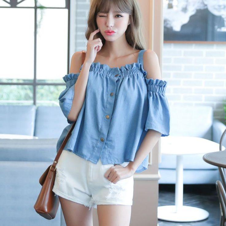 2017 Summer Korean Style Woman Flouncing Off Shoulder Denim T-Shirt Tops Blouse