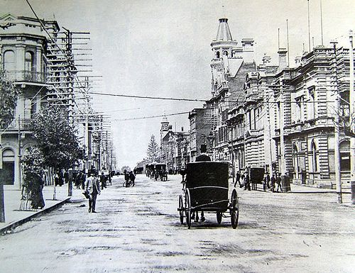 Perth, Western Australia in the Early 1900's.The corner of William St & St Georges Tce.