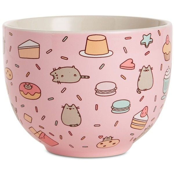 Department 56 Pusheen Snack Bowl (€13) ❤ liked on Polyvore featuring home, kitchen & dining, serveware, pink, pink bowl, department 56, cat bowl, porcelain bowl and porcelain serveware