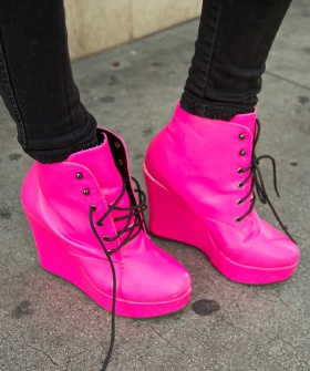 Yield to Pedestrians!!!Hot Pink Shoes, Bright Pink, Pink Wedges, Pink Booty, Street Style, Barbie, Wedges Boots, Rocks, Neon Pink