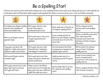 FREE Spelling choice boards