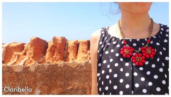 Red Statement Necklace  Floral Statement by ClaribellasDesigns, $38.00