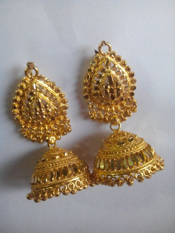 Very cute Indian jhumka earring-Gold Ear dangle-Ear Jewellery-Shahi jhumkiyan-free shipping