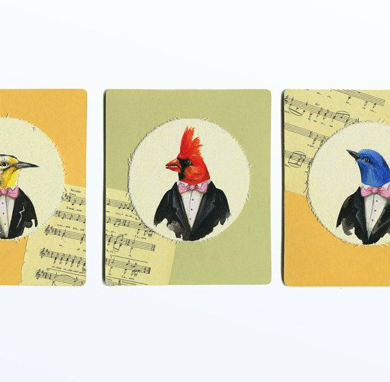 Set of 3 Art painting bird art card mixed media art by ArtFable