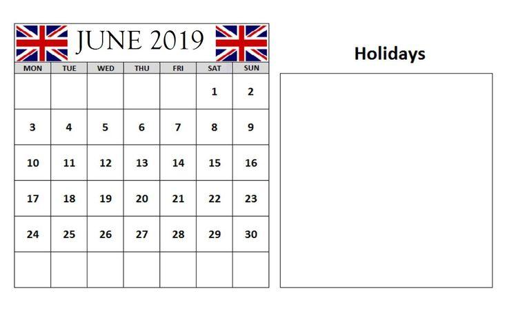 June 2019 Calendar With Holidays UK #june #junecalendar #