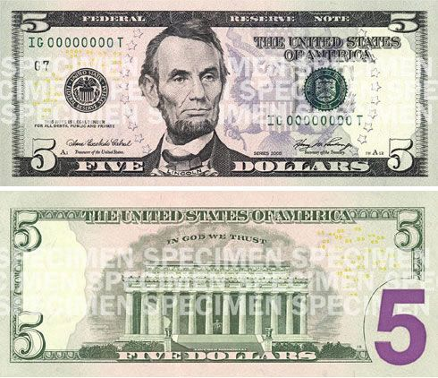 u.s. five dollar bill | United States Dollar - Federal Reserve Note - Series 2006