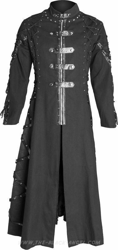 Gothic men's coat by Raven SDL, black cotton with metal eyelet and drawstring detail.