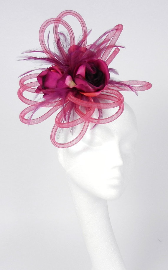 Dark Red Fascinator Hat for Kentucky Derby by Hatsbycressida