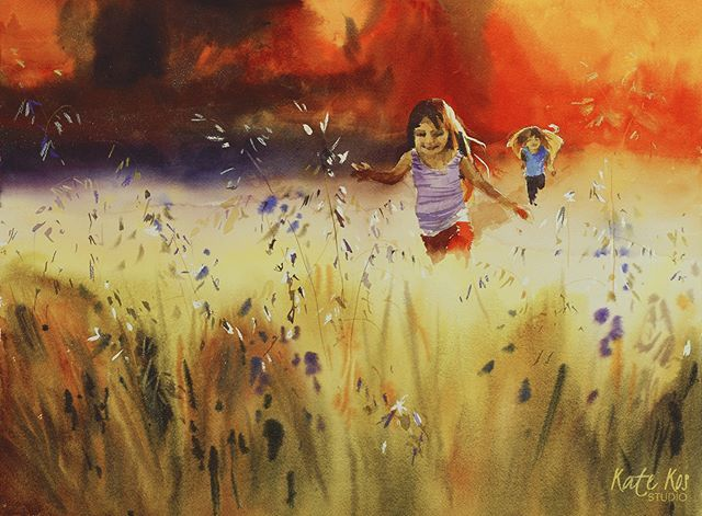 Another addition to 'Growing Free' series. This one reminds me of the summers I spent with my grandmother. She lived on her own in the middle of nowhere, had a farm, and absolutely loved to have her grandchildren with her. We would spend all days running around barley and oats fields and picking berries and mushrooms in the woods. #childhoodmemories #childhood #painting #art #watercolor #watercolors #watercolorpainting  #windsorandnewton #watercolorart #creativityfound #running #girls…